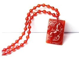 natural red agate Horse good luck red charm handmade horse pendant - $9.89