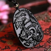 natural Obsidian stone Hand carved  dragon Phoenix Amulet charm pendant  - $9.89