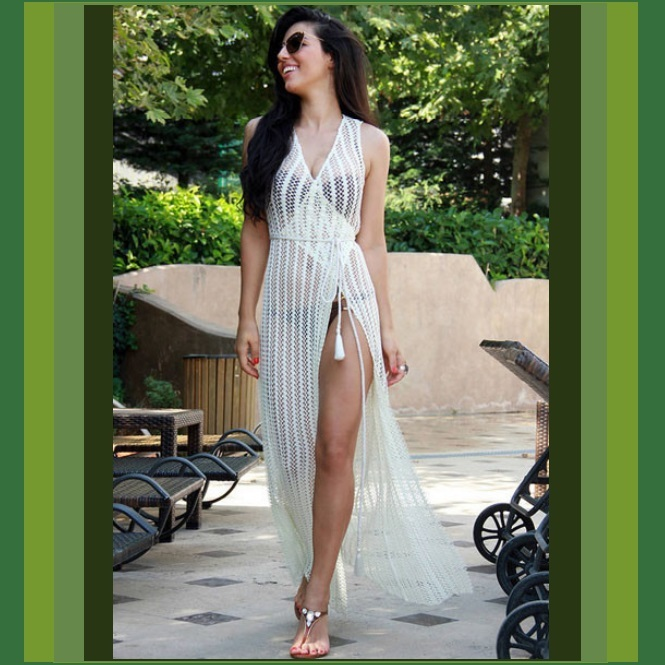 Primary image for Bohemian Long White Crochet Beach Wrap Vacation Tunic Robe Maxi Cover Up