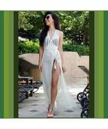 Bohemian Long White Crochet Beach Wrap Vacation Tunic Robe Maxi Cover Up  - $68.95