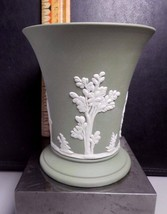 "3-7/8"" Wedgwood Gree Jasperware Vase, Cream Color on Celadon Green - $47.52"