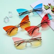 Sen Maries Butterfly Rimless Sunglasses Women Luxury Brand Designer Fashion Over image 5