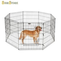 8 Panel Heavy Duty Satin Black Wire Pet Playpen Dog Folding Exercise Eas... - $52.57