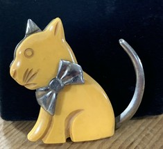Vintage Butterscotch Bakelite & Metal Cat Kitty Brooch Clip - $72.51