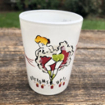 Vintage Shot Glass, Bottoms Up, Can Can, Hazel Atlas Frosted Glass, Hand Painted - $15.00