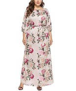 Plus Size Dress Stretchy Pink Floral 3/4 Sleeve Casual Cocktail Swing Pa... - $25.98