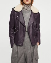 Soft And Smooth Trimmed Fur Collar Women Genuine Soft Skin Leather biker... - $159.00