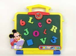 Mickey Mouse Magnetic Chalkboard Disney with Numbers and Letters Clock Vintage - $29.65