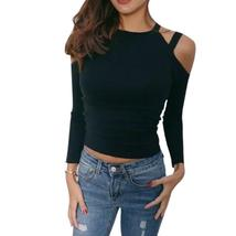 Women Long Sleeve Black Cold Shoulder Bandage Slim Fit Knitted Crop Tops... - $14.40+