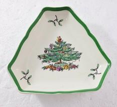 "Spode Christmas Tree Triangular Tray Candy Nuts Treats 5 3/4 x 5"" w Box S3324K - $27.93"