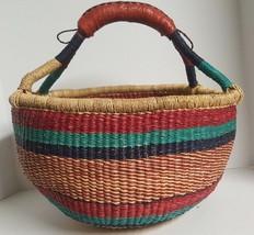 Lg Round Bolga Easter Basket Hand Woven Straw Grass African Market w Lea... - $56.95