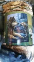 Wolf and Cub in the Wild American Heritage Woodland Plush Raschel Throw ... - $23.75