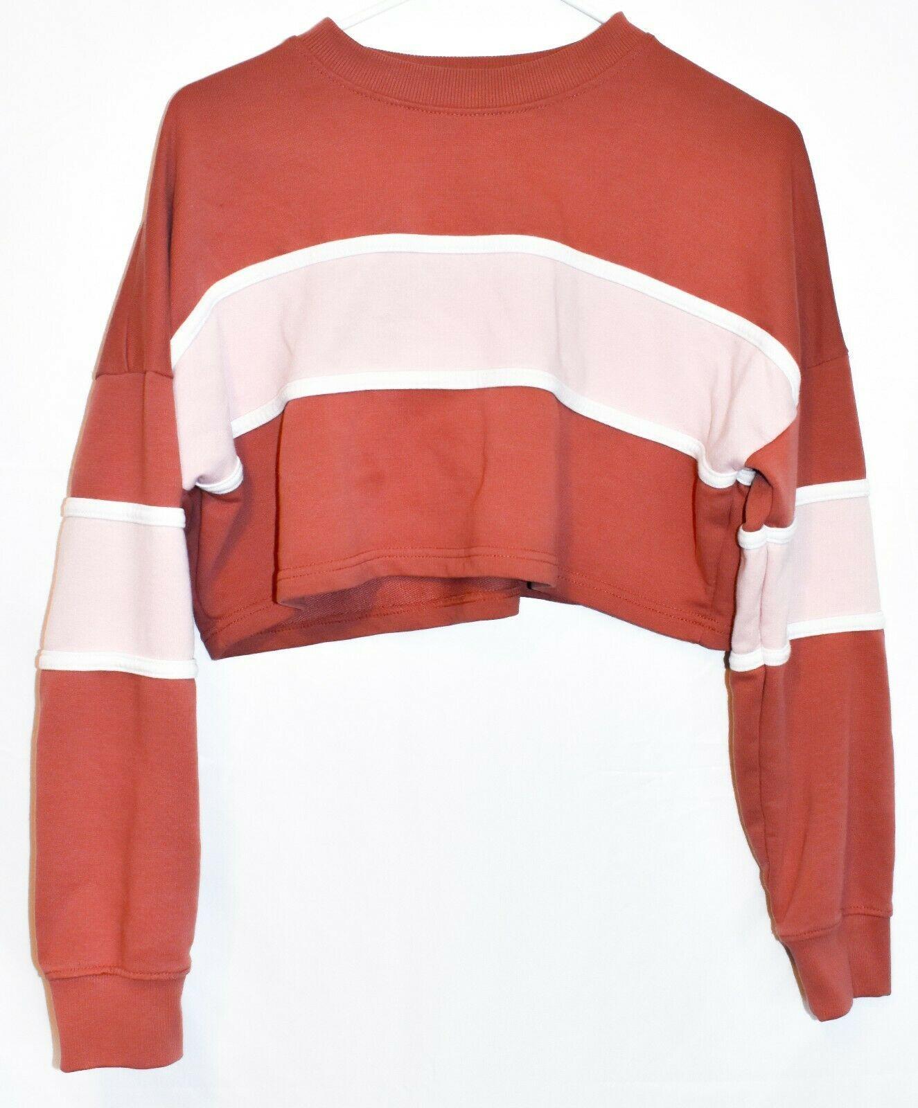Missguided Women's Pink Rose Striped Color Block Crop Sweatshirt Size 2