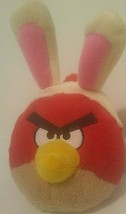 "Angry Birds Red Bird Plush Toy Bunny Ears 7"" Tall No Sound 2011 Rovio  - $12.82"