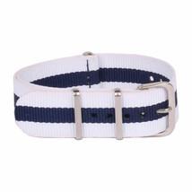 20mm X 255mm Nato Canvas Nylon wrist watch Band strap NAVY BLUE WHITE P2 - $10.42