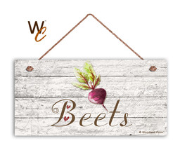 "Beets Sign, Rustic Style Garden Sign,  5"" x 10"" Wood Vegetable Sign, Kit... - $11.39"