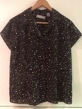 Liz Claiborne Brown Speckle Print Button Up Cap Sleeve Top Shirt Women's Size 14 - $9.95