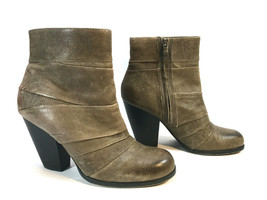 VINCE CAMUTO Belta granite brown leather stack heel earthy ankle boots F... - $64.30