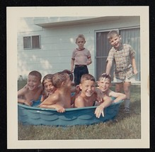Vintage Photograph Adorable Boys and Girls Swimming in Pool in Yard - $7.92