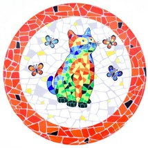 """Ole Mosaic Colorful Printed Cat Kitten & Butterflies Design 4.25"""" Round Coaster"""