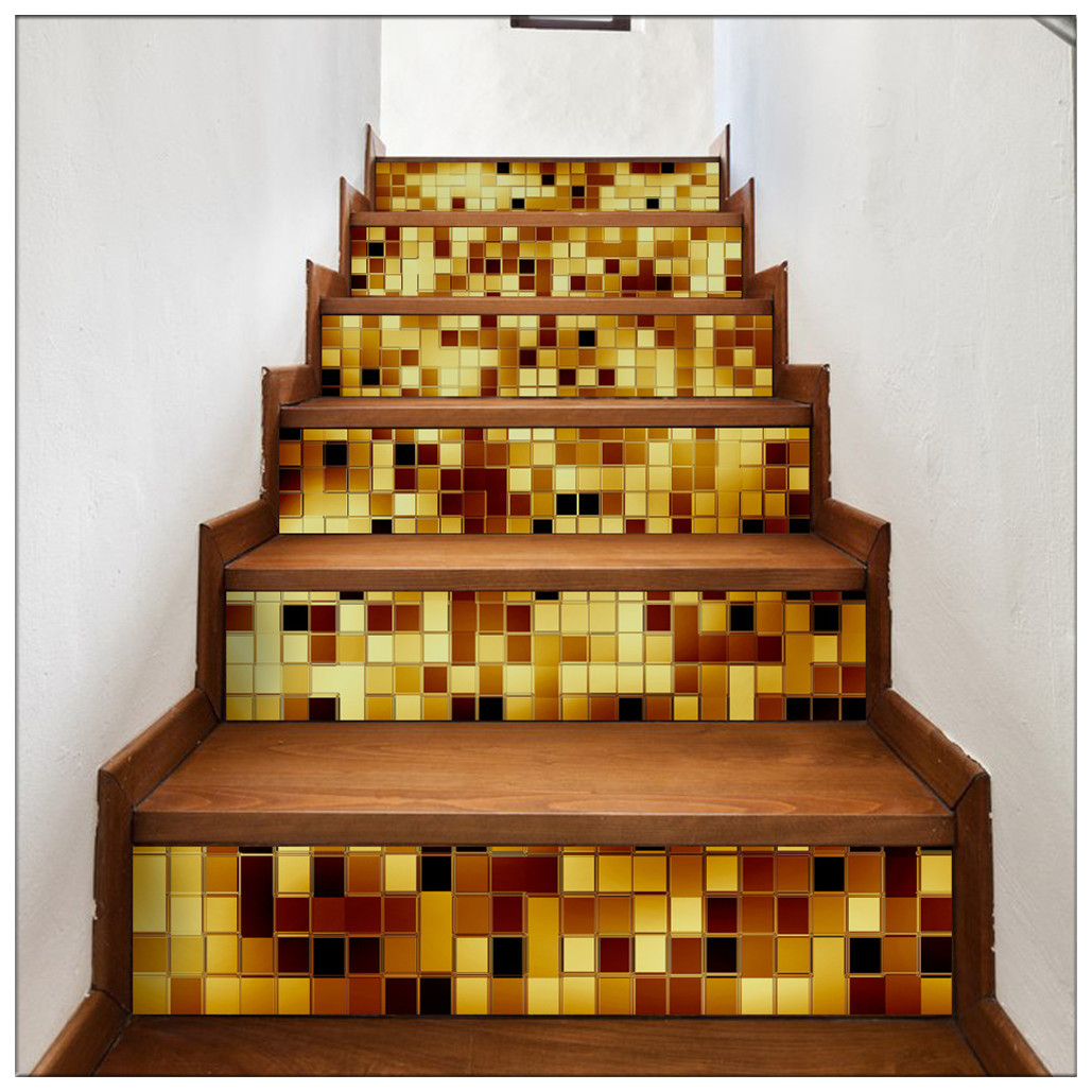 Primary image for DIY Steps Sticker Removable Stair Sticker Mural Wrap004 Gold Masaic
