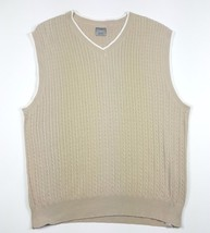 Hagger Golf Men Size Large Tan V-Neck Cable Knit Sweater Vest EUC 100% C... - $4.99