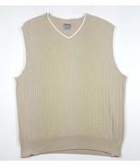 Hagger Golf Men Size Large Tan V-Neck Cable Knit Sweater Vest EUC 100% C... - $4.99
