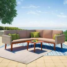 vidaXL 4 Piece Garden Sofa Set Poly Rattan Gray Outdoor Patio Lounger Seat - $356.99