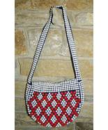 1960 Vintage White and Red Plastic Beaded Purse - $30.00