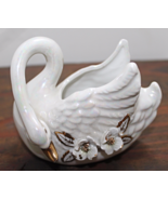 Vintage OPALESCENCE Ivory & Gold SWAN Planter Applied Flowers - $11.00