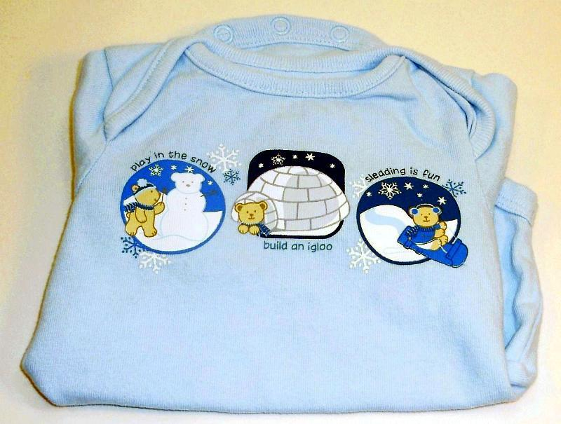 Small Wonders Long sleeve blue teddy beat onesie 0 to 3 months