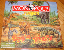 MONOPOLY JUNIOR GAME DIG N DINOS 1998 HASBRO PARKER BROTHERS COMPLETE EX... - $12.00