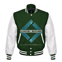 College Letterman Varsity Green Wool Jacket & Real White Leather Sleeves... - $92.99