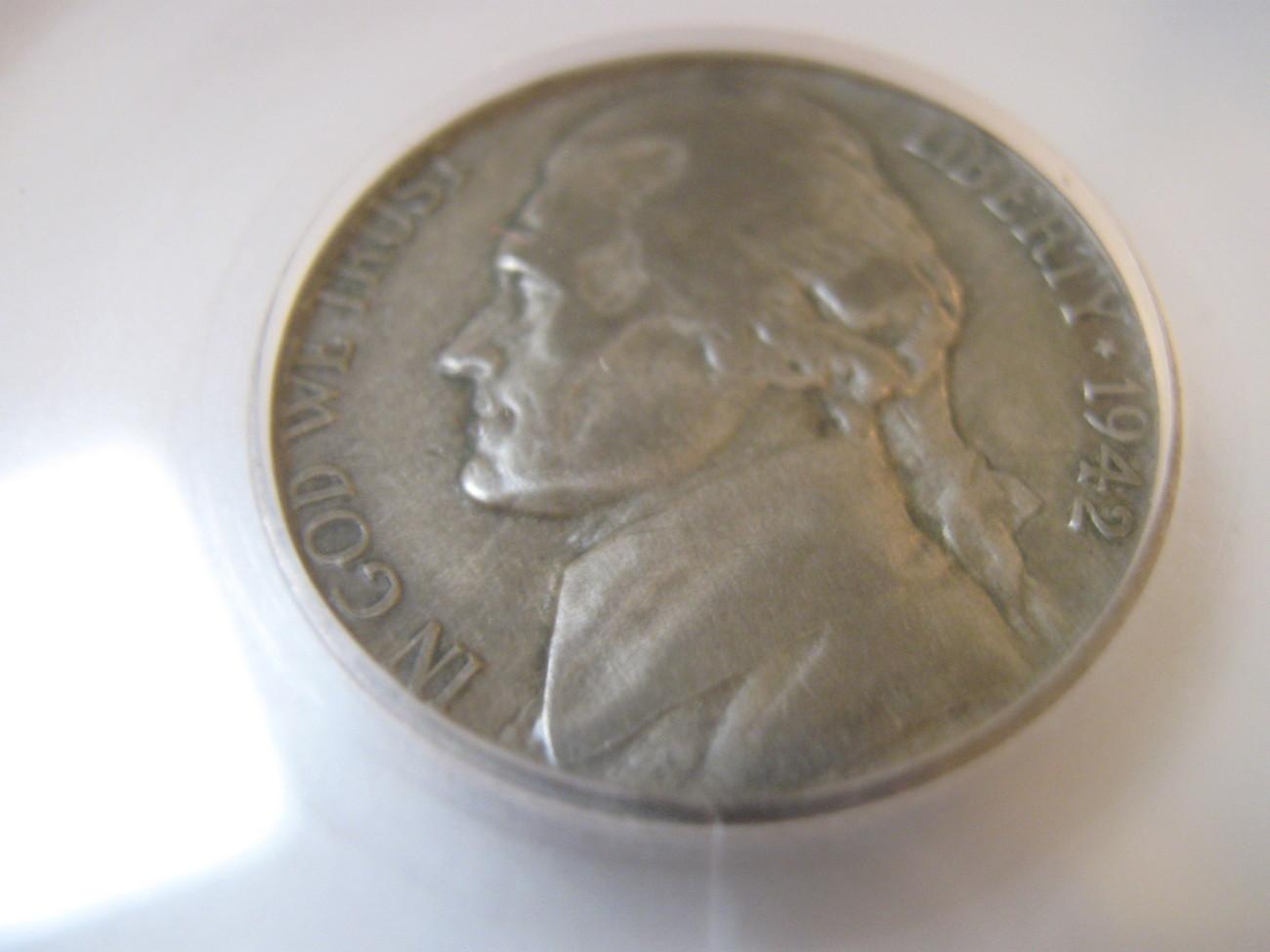 5 Cents , 1942-P , Jefferson Nickel , SEGS , F-12