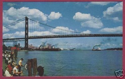 DETROIT MI WINDSOR Ambassador Bridge Fishing Ships