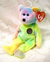 Ty Beanie Baby B.B. Birthday Pastel Bear 5th gen Mwmt 1999 tush tag Retired - $15.00