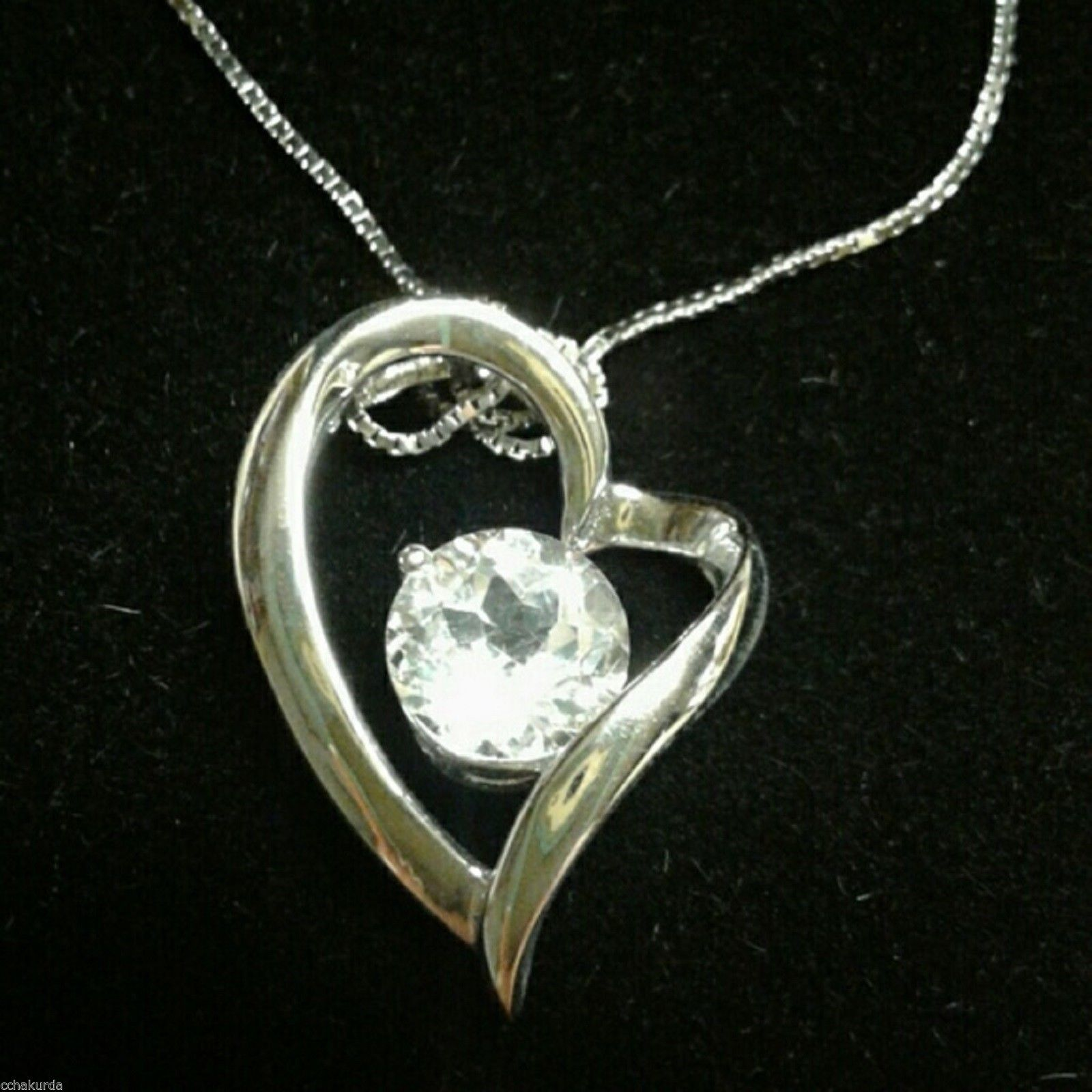 White Topaz Necklace Heart Pendant Sterling Silver NEW Boxed
