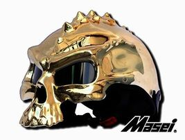 Masei 489 Gold Chrome Skull Motorcycle Chopper Helmet - $699.00