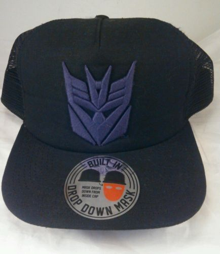 Primary image for Transformers Decepticon hat black/ purple with pull down mask  Adjustable and Ba