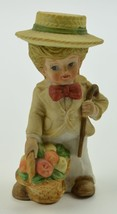 """Little Boy Holding Fruit Basket And Cane Ceramic Figurine 4.25"""" Tall Col... - $11.99"""