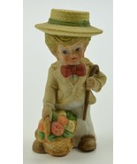 "Little Boy Holding Fruit Basket And Cane Ceramic Figurine 4.25"" Tall Col... - $11.99"