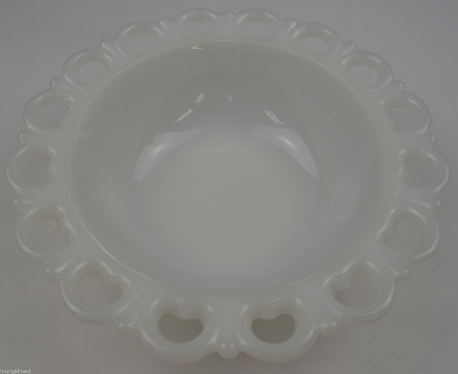 "Vintage Anchor Hocking Lace Edge Milk Glass Pattern Round Bowl 9.5"" Wide White - $19.99"