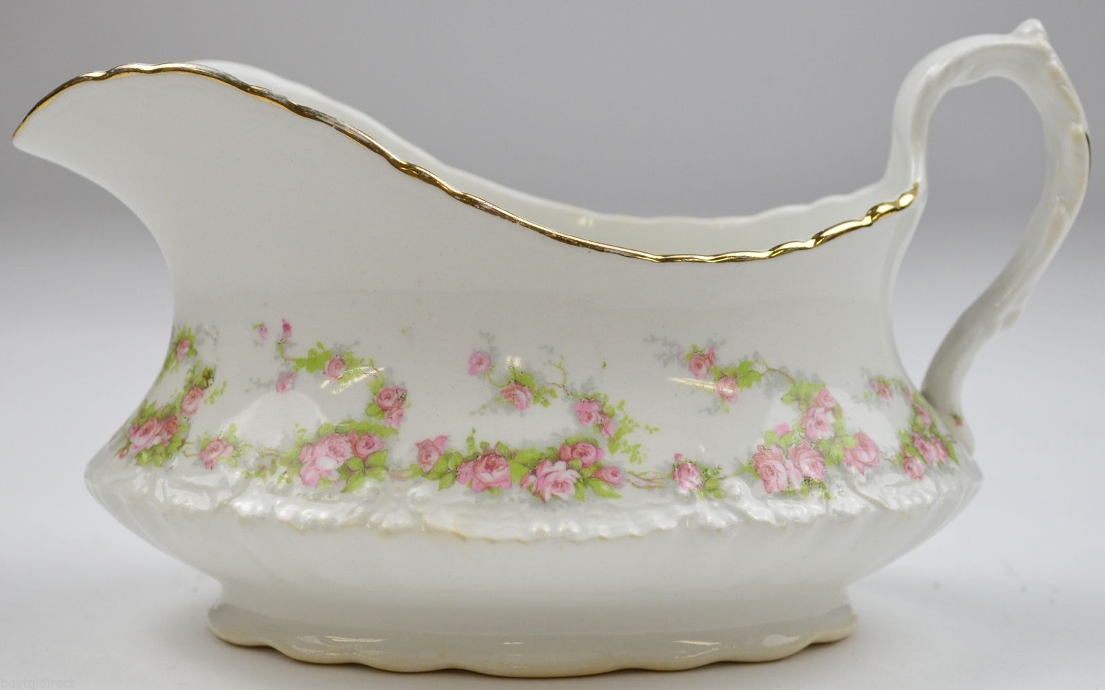 Vintage Homer Laughlin China Hudson Pink Floral Pattern Gravy Boat Tableware