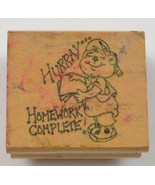 """Wood Mounted Rubber Stamp By Art Impressions """" Hurray Homework Complete ... - $6.99"""