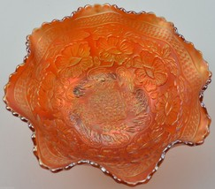 Fenton Art Glass Bowl Two Flowers Marigold Carnival Collectible Iridescent Decor - $64.99