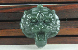 Hand carved natural green jade tiger head asia tiger head pendant - $9.89