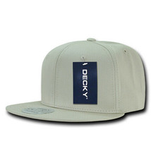 Cotton Snapback Cap - Flat Bill, Stone Gray (Decky 361-STN, New with Tags) - £5.40 GBP