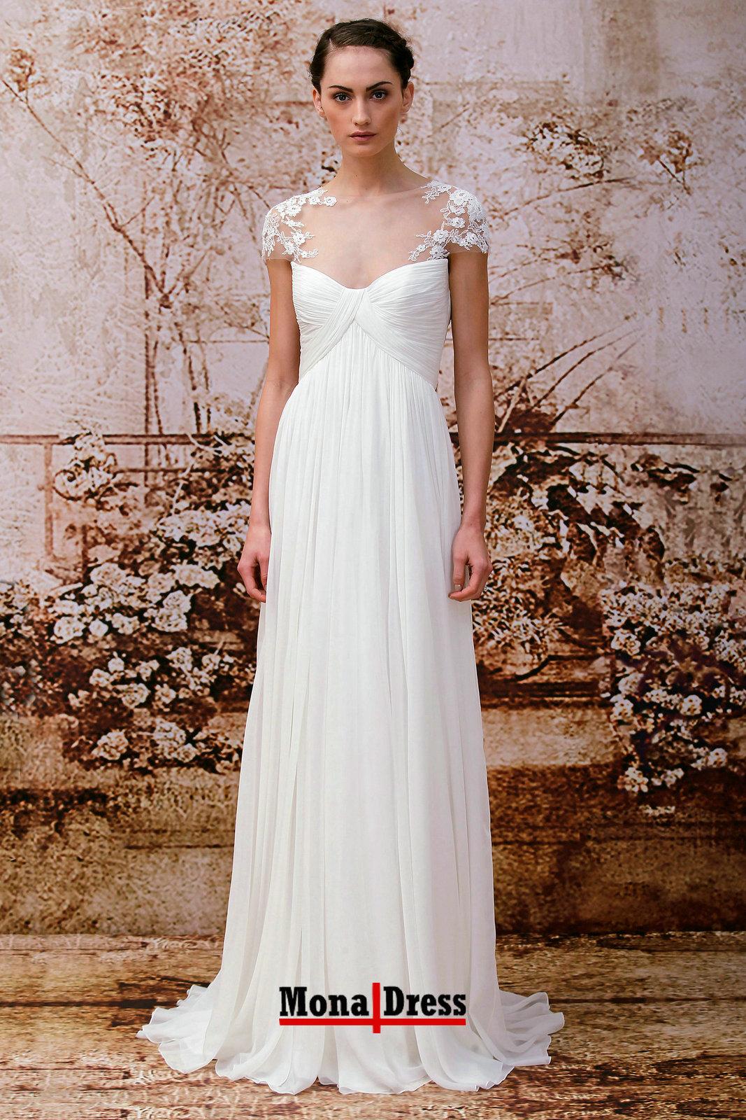 Beach bohemian short sleeve lace chiffon modest prom