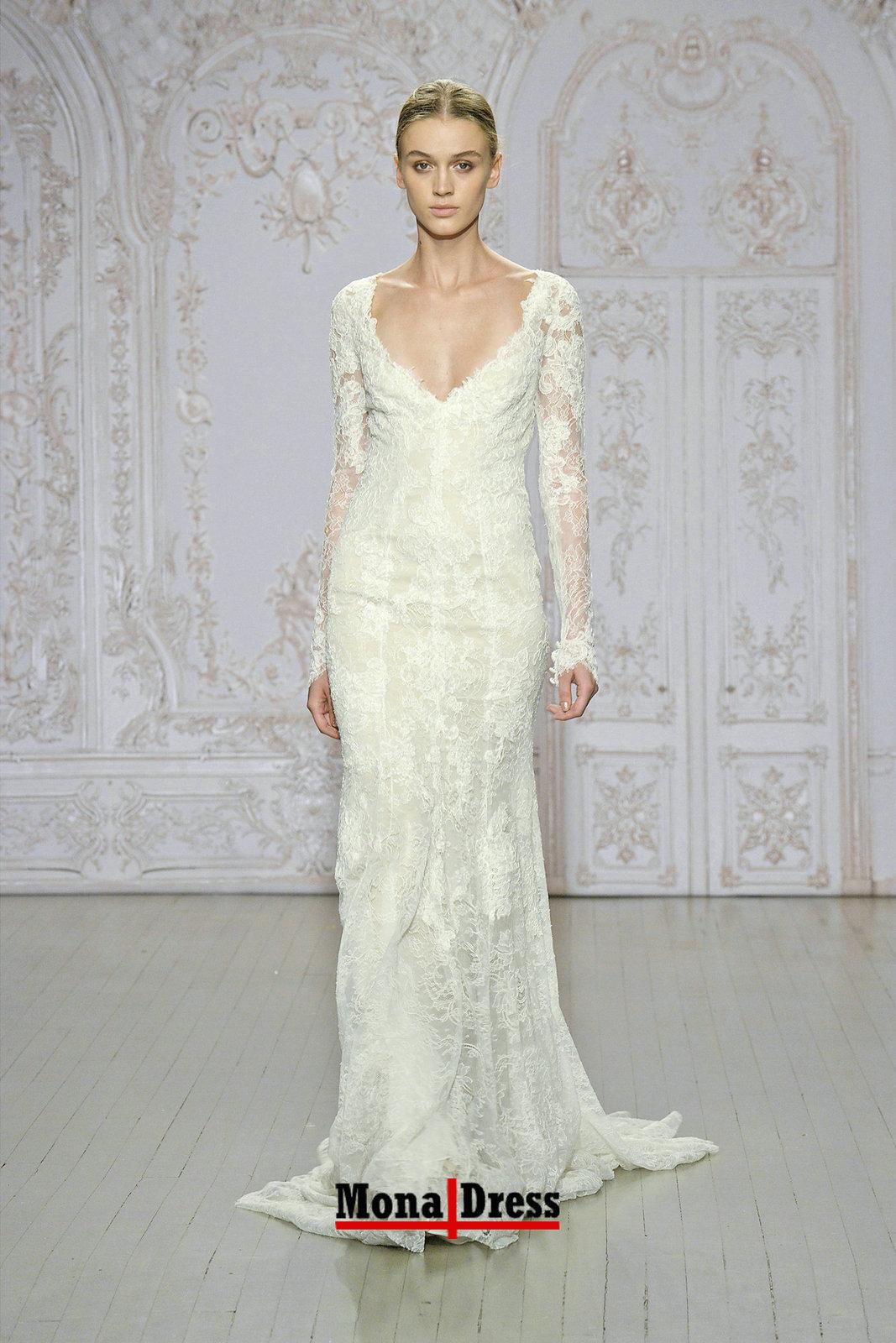 Long sleeve vintage lace beige v neck evening wedding