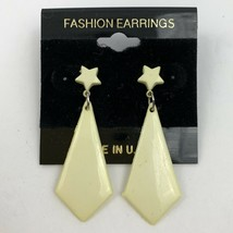 Vintage Plastic Star Drop Dangle Pierced Earrings NOS 80s 90s Cream New ... - $11.84